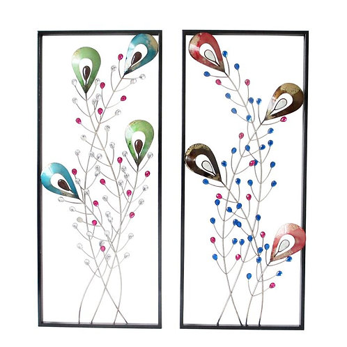Peacock Feathers Metal Wall Décor Pair