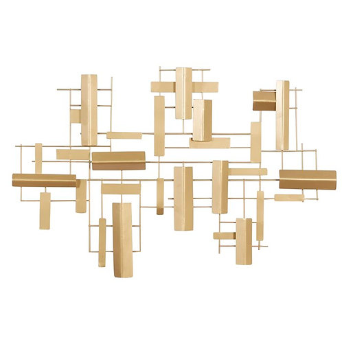 Gold Accented Abstract Metal Wall Décor