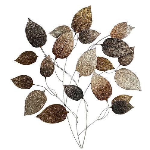 Metal Textured Leaf Wall Décor