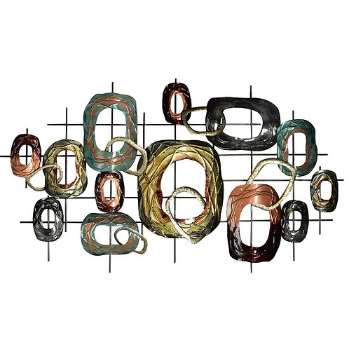 Ovals on Grid Metal Wall Décor
