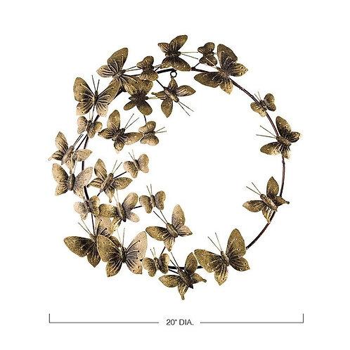Metal Butterfly Wreath Wall Décor