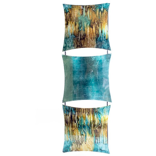 Turquoise And Gold Metal Wall Decor