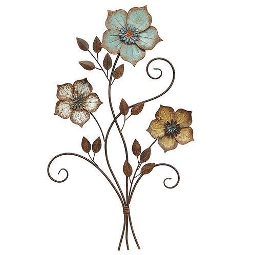 Tricolor Flower Metal Wall Décor