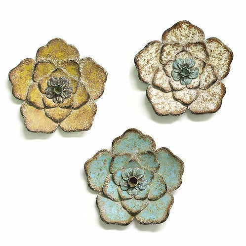 3 Rustic Flowers Metal Wall Décor