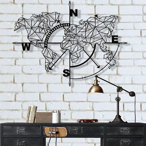 Geometric Compass Metal Wall Decor