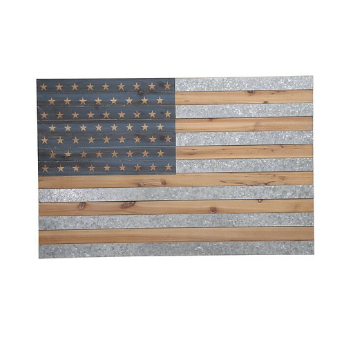 Wood And Metal Flag Wall Décor