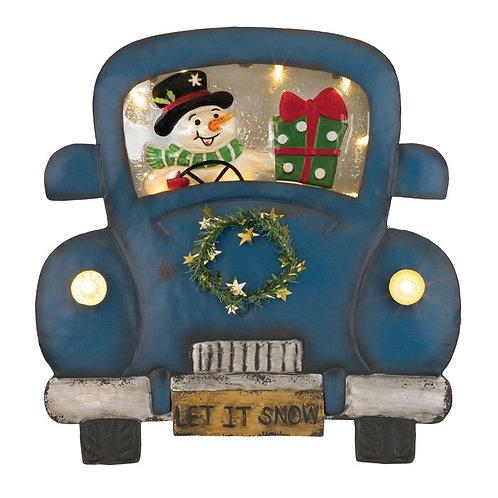 Blue Metal Snowman Truck Wall Decor
