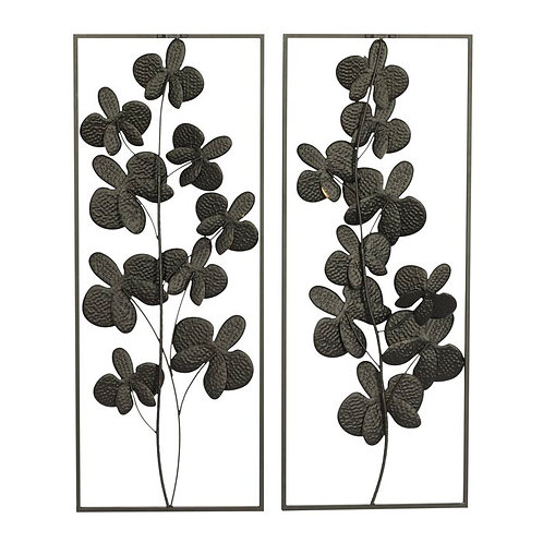 Floral 2 Piece Metal Wall Décor Set
