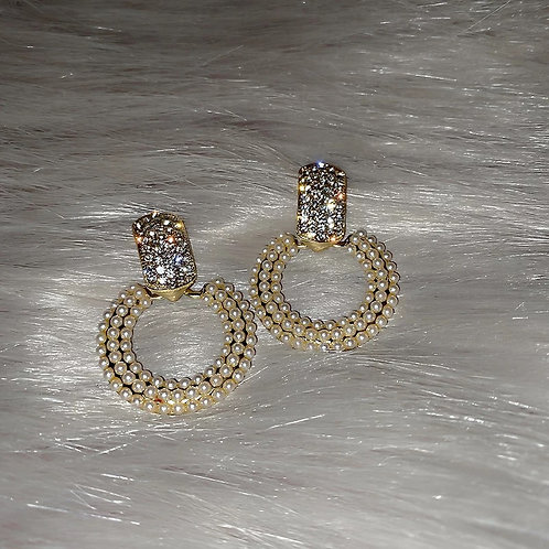 Frida Crystal and Pearl Embellished Earrings