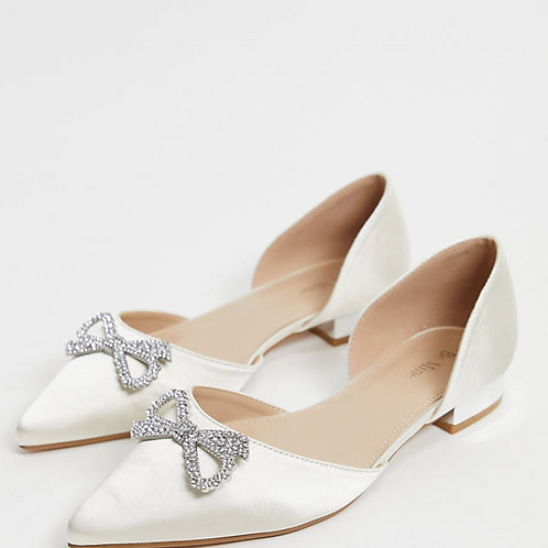 Be Mine Bridal Flats with embellished Bow