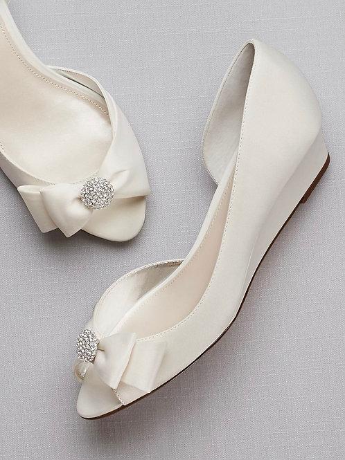 Bow-Embellished Satin D'Orsay Wedges