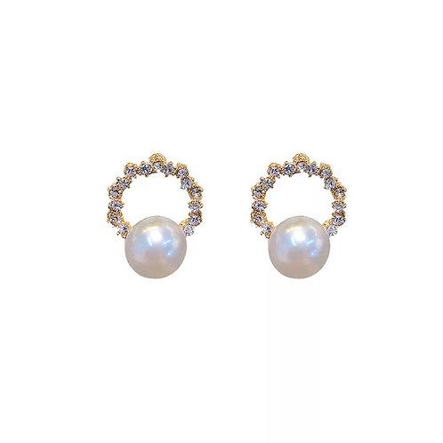 Paloma Pearl Princess-cut Cubic Zirconia Stud (Silver)
