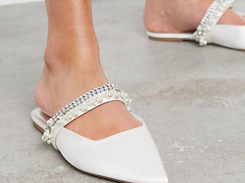 Love embellished mules in Ivory