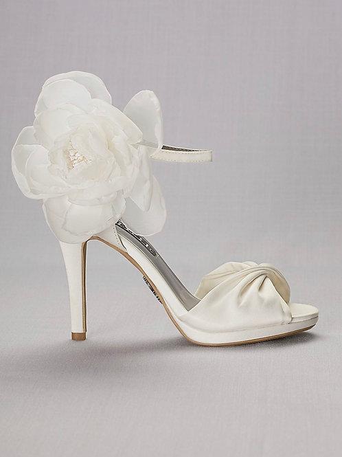 Satin Peep-toe Heel with Chiffon Flower
