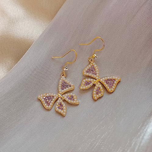 Grace Purple Butterfly Earrings