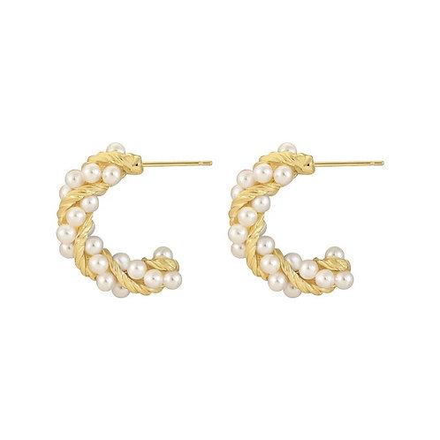 Marina Mini Hoop Pearl Earrings