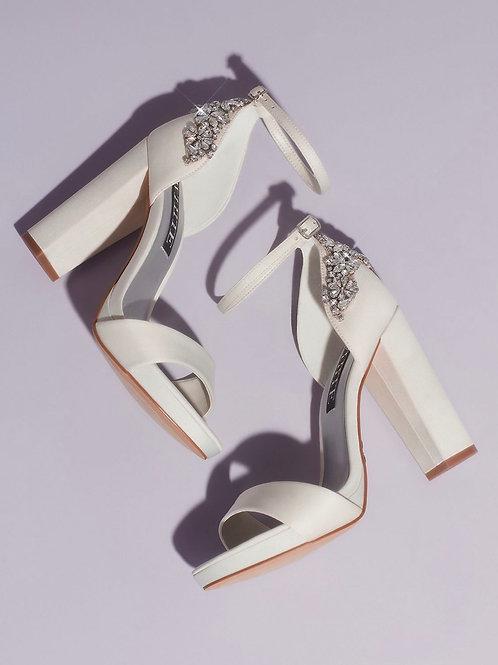 White by Vera Wang Crystal Embellished Block Heel