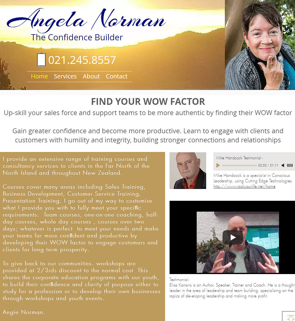 Angela Normanweb site designed by wooppee websites