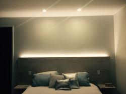 Lighting behind bedhead