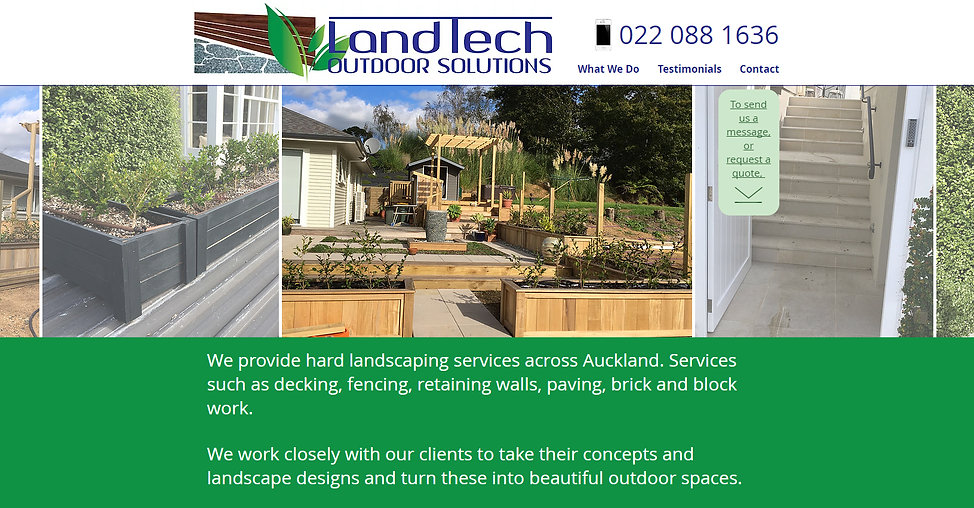 Landtech web site designed by wooppee websites