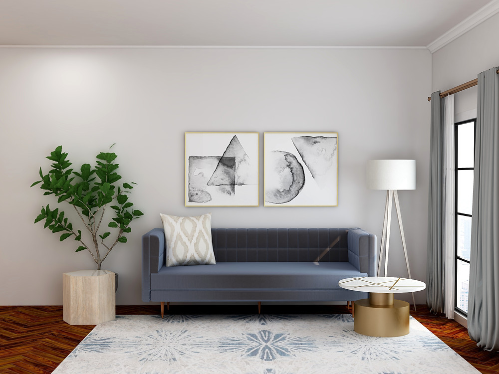 A minimalist lounge with gray sofa and walls.