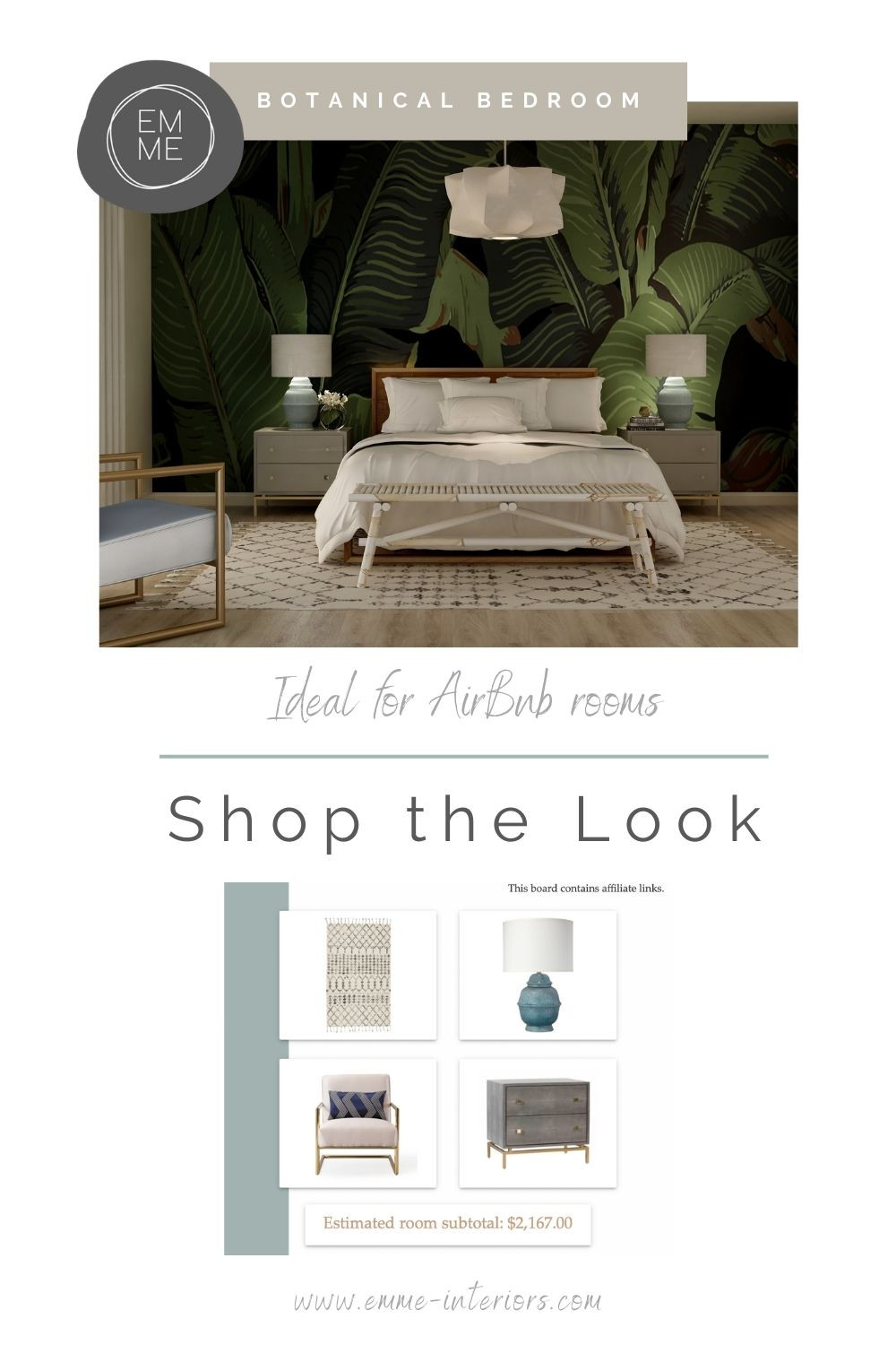 Shop the Look for this Botanical Bedroom design.  This design is ideal for an AirBnb room.