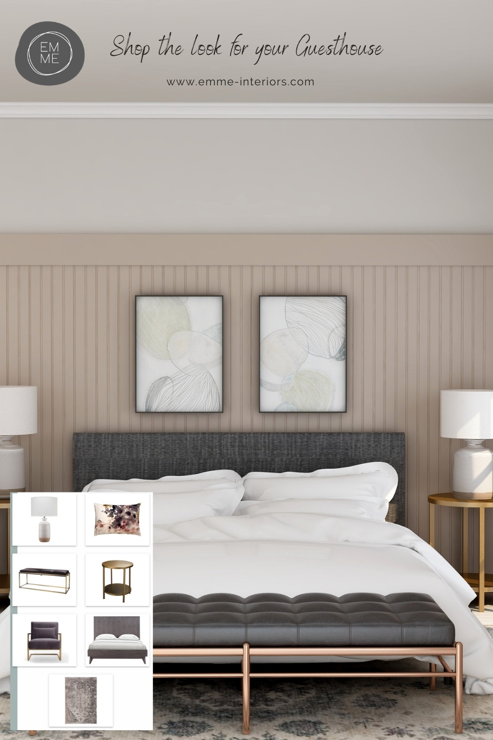Shop the Look to re-create this bedroom with pink and grey tones. Bedroom furniture. Dead Salmon, Farrow & Ball.  Bedroom design, Guesthouse design, Guesthouse bedroom design.