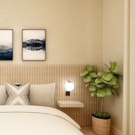 Modern Bedroom with slatted headboard-2.