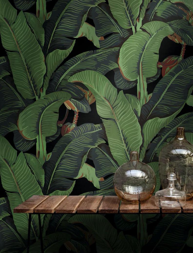 Black Banana Leaf Wallpaper
