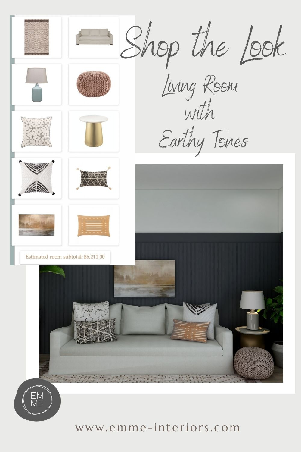 A Living Room Design using earthy colours and offering tips and products to achieve this look.