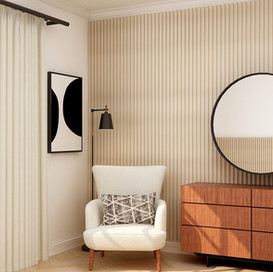 Modern Bedroom with slatted wall detail.