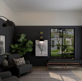 Living Room with panelled Walls
