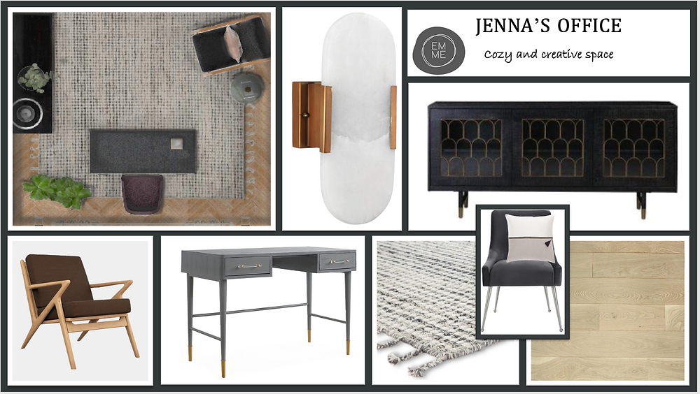 A concept board for a study with dark walls, warm wooden floors and accent furniture to create a space that you would love to work in.  Black and white rug, mid-century modern chair, gray office desk.
