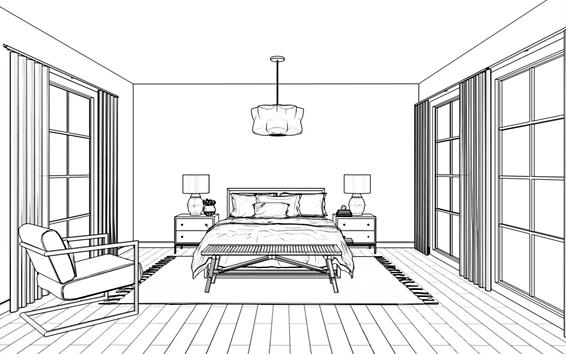 Wireframe image of bedroom design