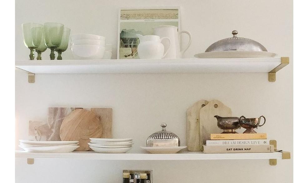 Kitchen shelves styled