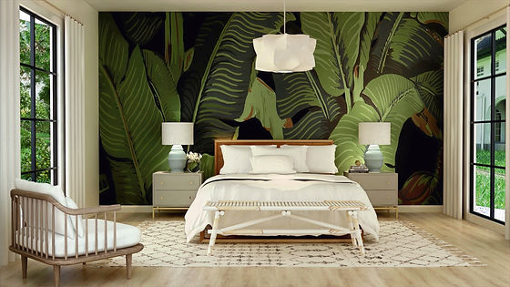 3D Render of bedroom with botanical wallpaper