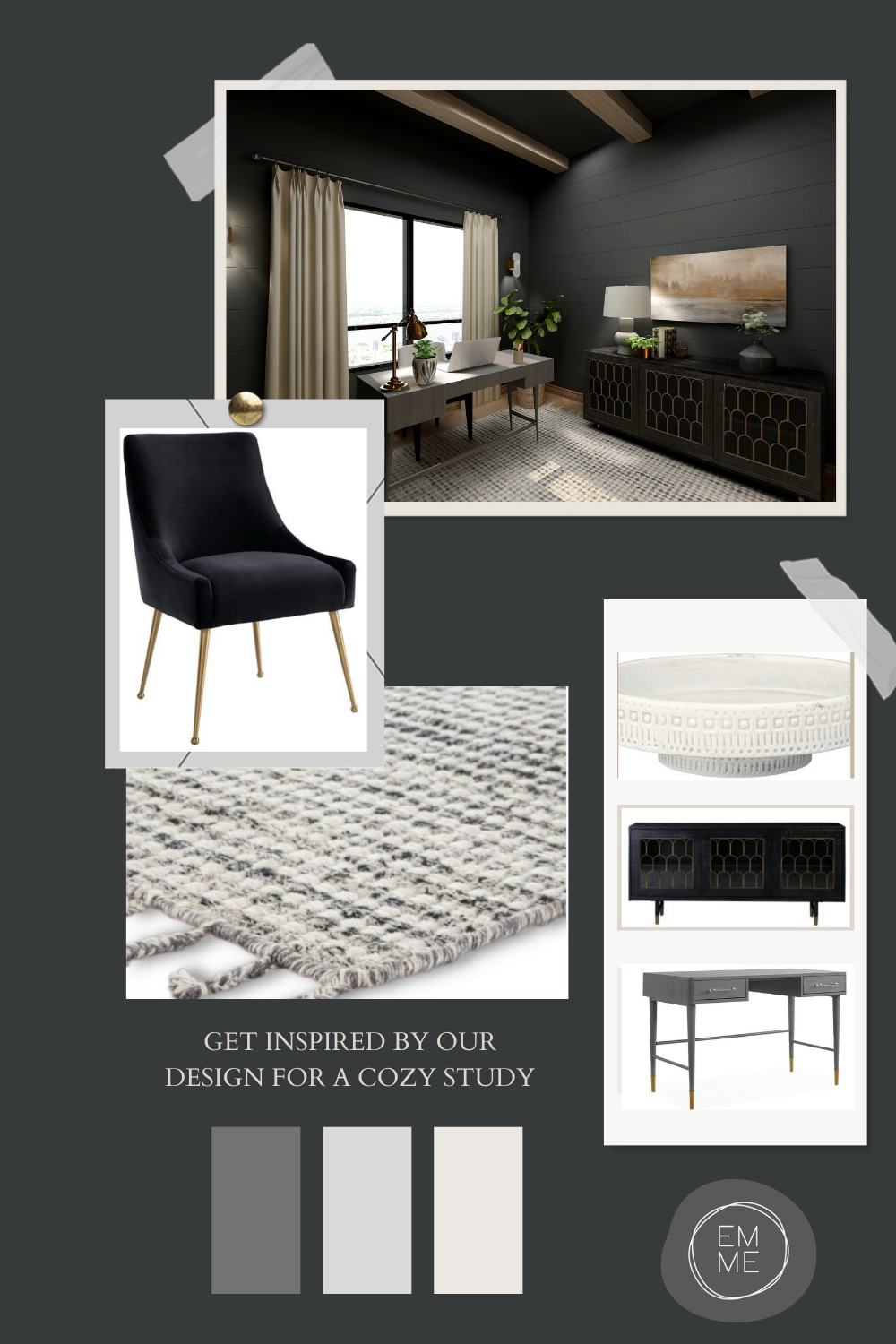 An easy way to purchase a design for your home office.  Follow my step by step guide to design your home office and then purchase the items to create this cozy space.
