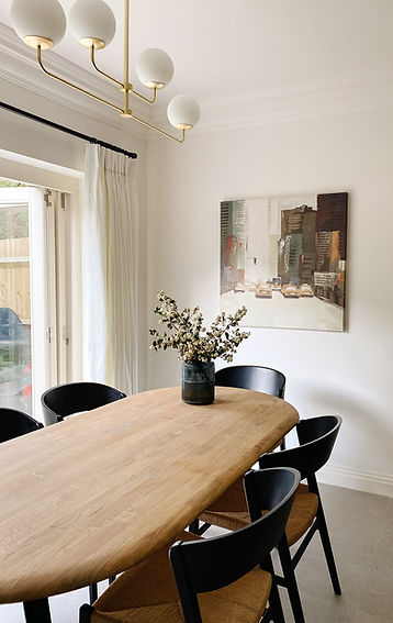 Dining Room with black chairs
