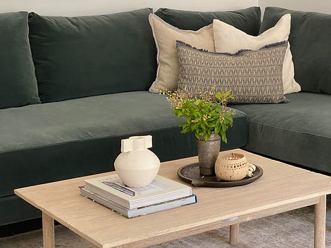 Interior design for a living room with a green couch
