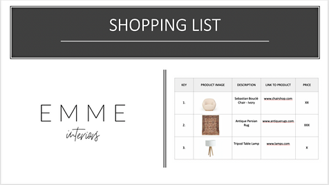 Example of a shopping list