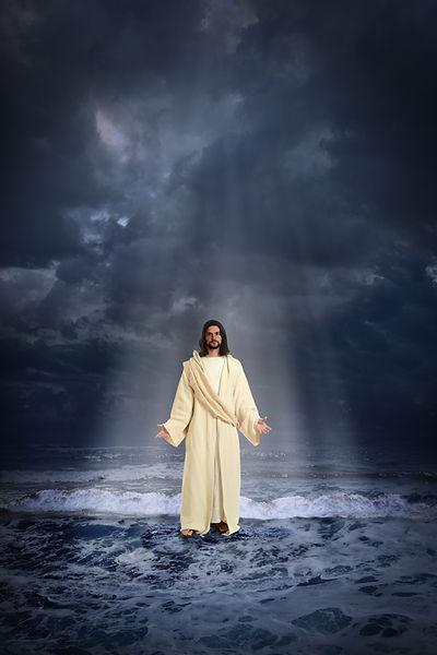 Saint Benedict Anglican Church Tucson Arizona - Jesus walking on the water over dark sky