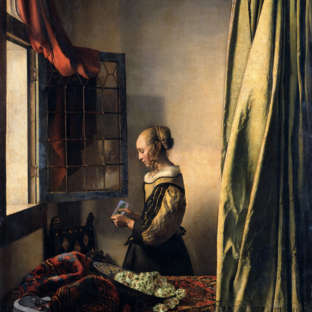 Girl Reading a Letter by an Open Window.