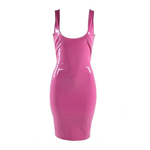 Pink Leather PU Dress