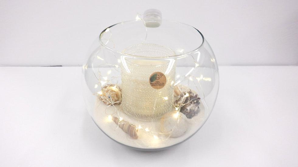Boule en verre clair de 8 '' avec éclairage del et bougie