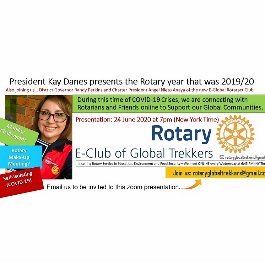 President Kay Danes presents the Rotary year that was 2019/20