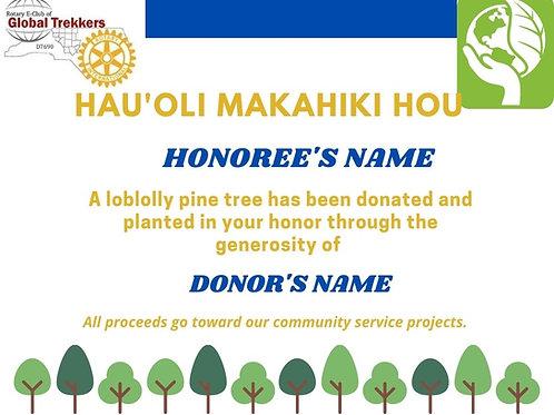 HAWAIIAN HAPPY NEW YEAR TREE CERTIFICATE