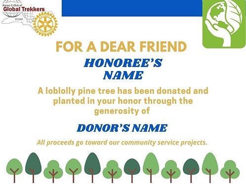 For A Dear Friend-TREE CERTIFICATE