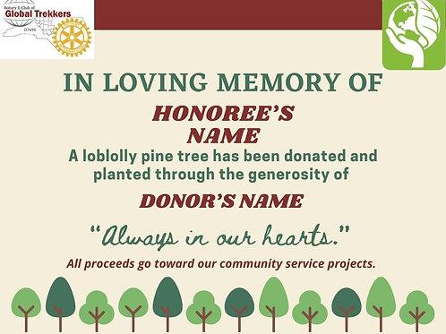 IN LOVING MEMORY OF -TREE CERTIFICATE