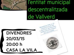 Presentació: De la Memòria per a la constitució de l'EMD de Vallverd