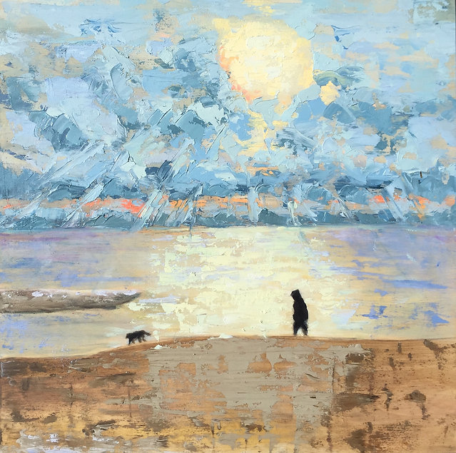 E Aragon -Beach walk lalo 12x12.jpg